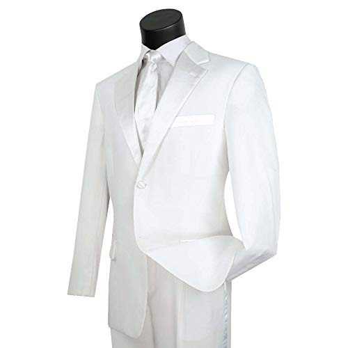 Lucci Men's 2 Button Classic-Fit Formal Polyester Tuxedo Suit w/Sateen Lapel & Trim [Color: White | Size: 42 Regular / 36 Waist]