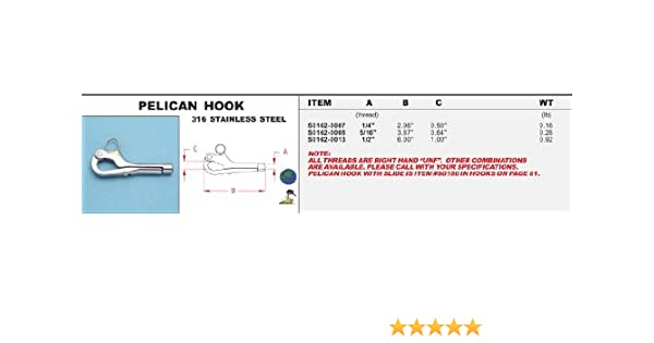 """5//16/"""" UNF STAINLESS STEEL MARINE THREADED QUICK RELEASE PELICAN HOOK yacht wire"""