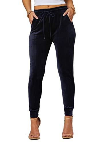 Conceited Velour Velvet Jogger Leggings for Women...