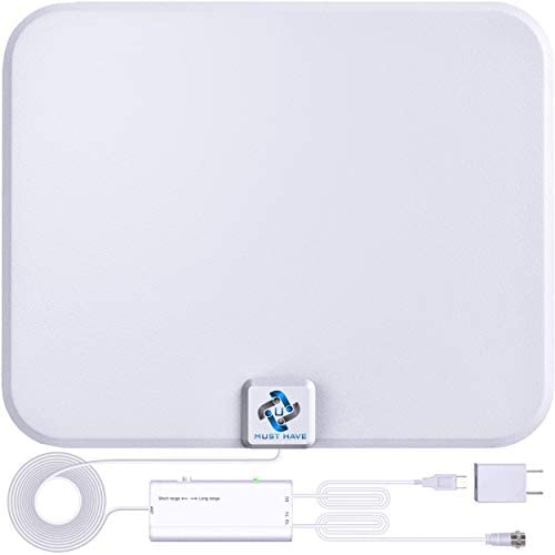 U MUST HAVE Amplified HD Digital TV Antenna Long 200 Miles Range - Support 4K 1080p Fire television Stick and All TV's - Indoor Smart Switch Amplifier Signal Booster - 18ft Coax HDTV Cable/AC Adapter(White)