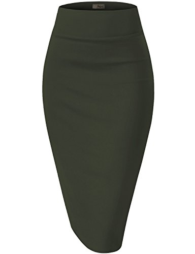 Womens Premium Stretch Office Pencil Skirt KSK45002 Olive 2X