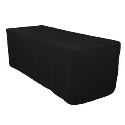 LinenTablecloth 6 ft. Fitted Polyester Tablecloth Black (Fitted Polyester 6' Tablecloth)