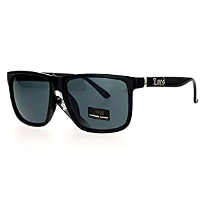 Locs Gangster Oversized Rectangular Horn Rim Sunglasses All Black