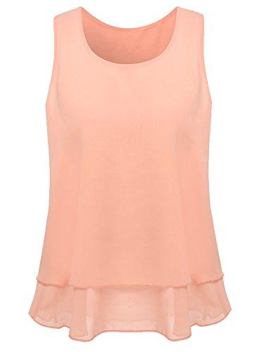 Women's Sleeveless Chiffon Layered Cami Tank Top (Pink,2XL)