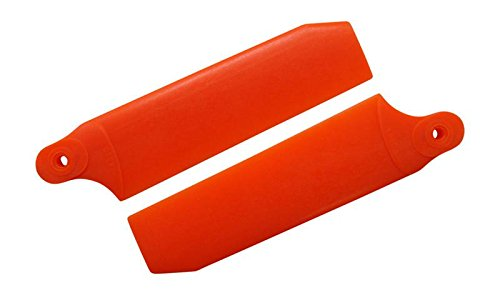 KBDD 72.5mm W/ 4mm Root Neon Orange Extreme Edition Tail Rotor Blades - 500 Size #4040