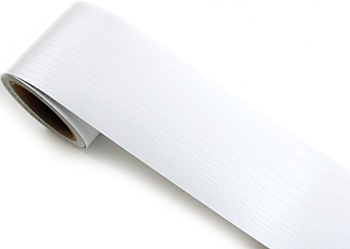 Peel & Stick Border Sticker Cherry Wood Embossing White Color Contact Paper Self-adhesive Removable Border Roll SG33 (P4801-13) : 3.93 inch by 16.40 feet