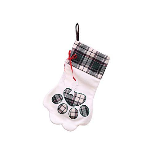 Hot Sale!UUMFun Merry Christmas Candy Socks Cat Claw Socks Plush Tree Hanging Gift Candy Large Socks Decor (B)