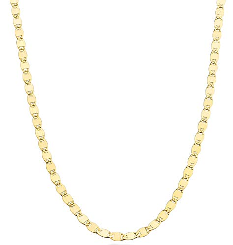 (MiaBella 18K Gold Over 925 Sterling Silver Italian Glam Sparkle Link Chain Necklace for Women Teen Girls, 13