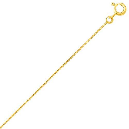 So Chic Bijoux © Chaîne Collier Longueur 50 cm Maille Forçat Diamantée 0,9 mm Or Jaune 750/000 (18 carats)