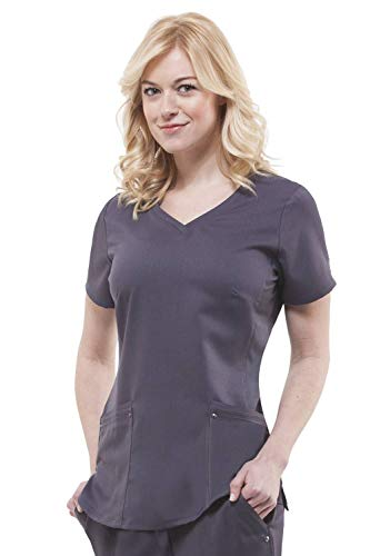 Purple Label Yoga Juliet 2245 V-Neck Scrub Top with Stretch Side Panels- Pewter- Large ()