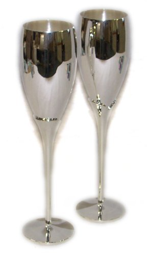 Pair Of Silver Plated Champagne Flutes - Knight (Silver Plated Barware)