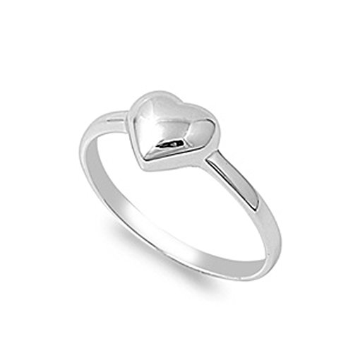 CHOOSE YOUR COLOR Sterling Silver Puffed Heart Promise Ring