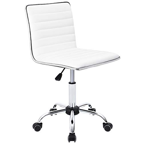 Furmax Mid Back Task Chair,Low Back Leather Swivel Office Chair,Computer Desk Chair Retro with Armless Ribbed (White) (Metal Desk Chair)