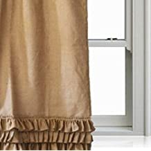 Amore Beaute Handcrafted Natural Burlap Ruffle Curtain Panel Custom Door Window Curtain Shabby Chic Curtains Housewarming Gifts Home Decor (32Wx70L)