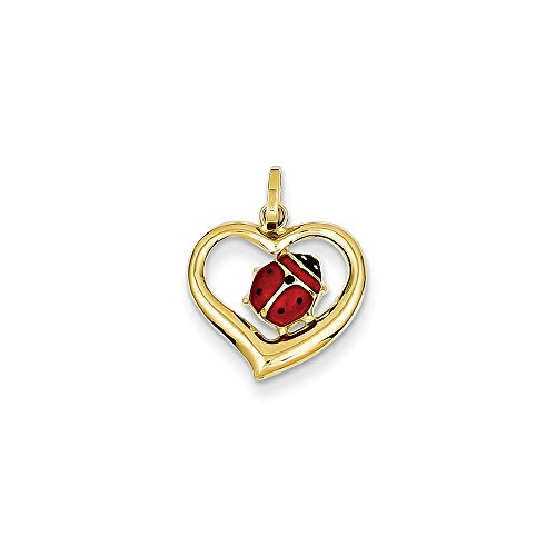 14k Yellow Gold Enameled Ladybug In Heart Charm ()