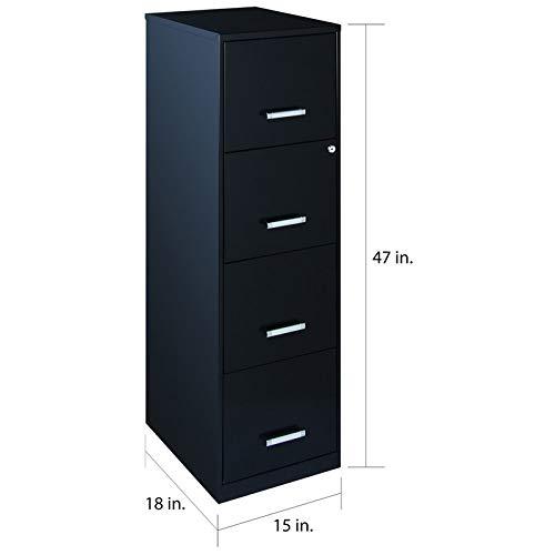 18'' Deep Light Duty 4 Drawer Metal Letter File Cabinet in Black