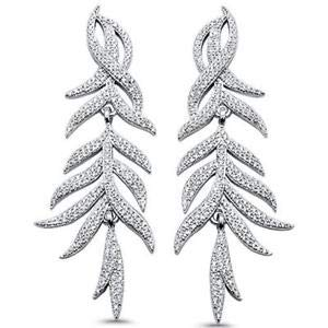 225 Pave Cubic Zirconia Leaf Design Drop 925 Sterling Silver Earrings Jewelry Accessories Key Chain Bracelet Necklace Pendants