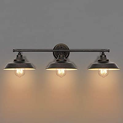 KingSo Industrial 3-Light Wall Mount Sconces Bathroom Vanity Light Oil Rubbed Bronze Finish Indoor Wall Fixture