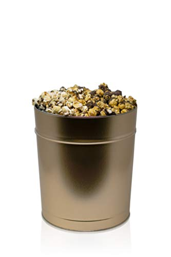 The Chocolate Lover Popcorn Tin: Handcrafted Caramel w/Chocolate, Kettle w/Chocolate, and Dark Chocolate Caramel Sea Salt| Perfect for Movie Nights, Care Packages, and Gift Boxes (3.5 Gallon Gold) ()
