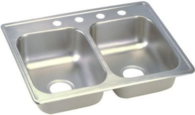 22 Gauge Stainless Steel 25'' X 19'' X 6.3125'' Double Bowl Top Mount Kitchen Sink by Elkay (Image #1)