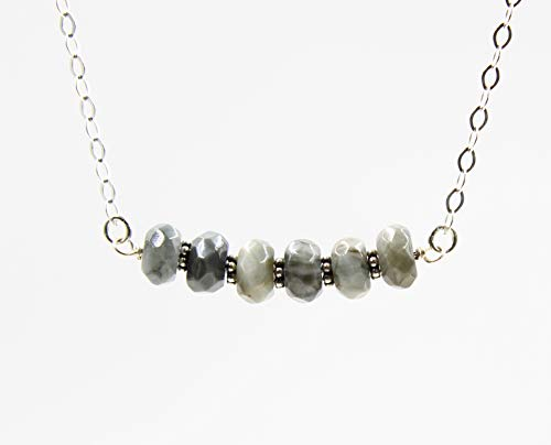 Grey Cats Eye Beaded Gemstone Bar Necklace for Women with 925 Sterling Silver Chain, 18 Inches