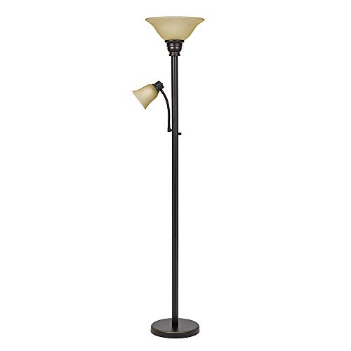 Torchiere Reading Light - Catalina Lighting 21402-000 Traditional Metal Torchiere Living Room Floor Lamp with Reading Light and Glass Shades Oil Rubbed Bronze