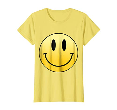 Womens Mr Happy Smiley Face Positive Cute T Shirt Small Lemon ()