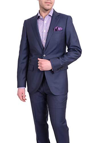 (Label E Mens Slim Fit Navy Blue Textured Two Button Super 150s Wool Suit)