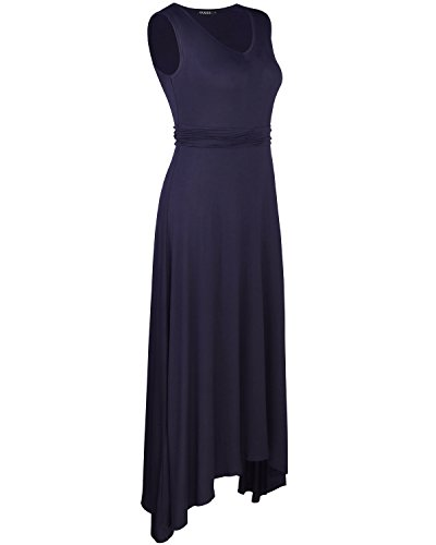 OUGES Women's V Neck Sleeveless Summer Casual Long Maxi Dresses(Navy,S) ¡ by OUGES (Image #2)