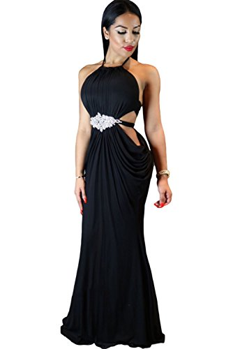 EZON-CH Women's Black Sexy Cutout Draped Halter Gown with Crystal Detail
