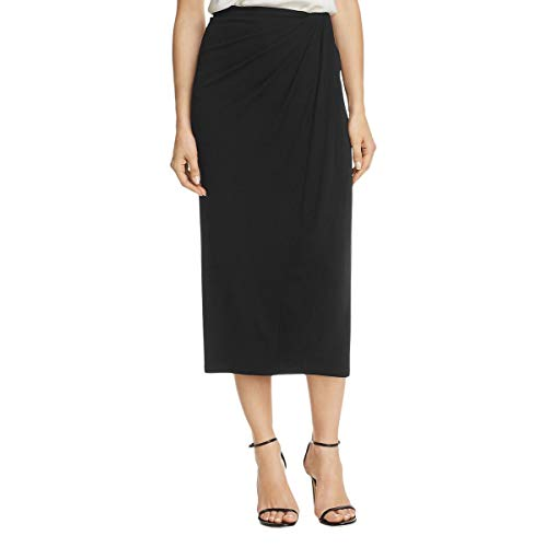 (Donna Karan Womens Faux Wrap Ruched Midi Skirt Black)
