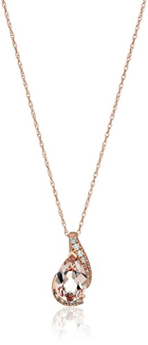 14k Rose Gold Pear Shaped Morganite with Diamond Accent P...