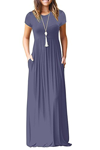 AUSELILY Women's Short Sleeve Loose Maxi Dress Casual Long Dress with Pockets Purple Gray Small