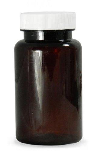 Qorpak PLC-06592 Amber PET Packer Bottle with 38-400 White Polypropylene SturdeeSeal Polyethylene Foam Lined Cap, 4oz Capacity, 49mm OD x 92mm Height (Case of (Polyethylene Lined Cap)
