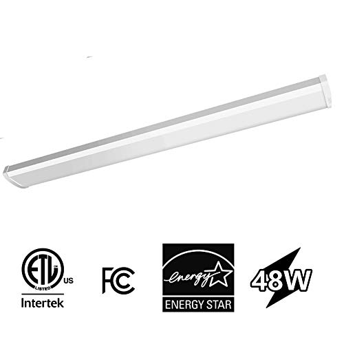 CINOTON 4FT 48W LED Wraparound Light, Daylight 5000K 4000 Lumens LED Shop Light, Linear Flushmount Commercial Ceiling Light Fixture for Office Garage, Home, ETL and Energy Star Certified