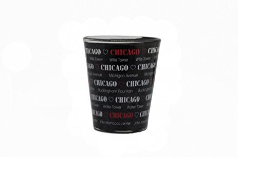 Chicago Souvenir Shot Glass, Black and White with Text - Glasses Cheap Chicago