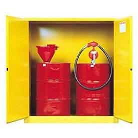 Justrite 899100 Sure-Grip Vertical Drum Cabinet, Manual-Close, 110 Gal, Yellow