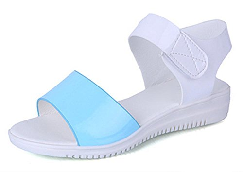 Summer Student bequeme flache Sandalen einfache Steigung mit rutschfesten Schuhen Fischkopf Schuhen Blue