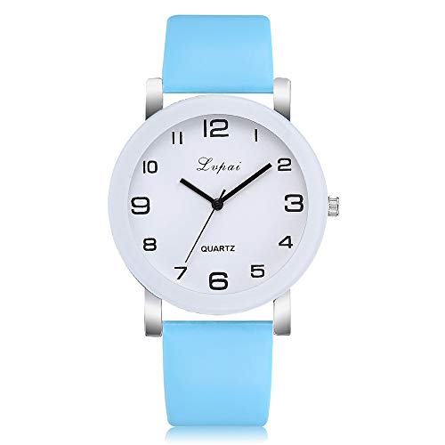 Booboda Exquisite Cute Girl Watch Ladies Casual Quartz Leather Strap Watch Simple Digital WatchSky Blue