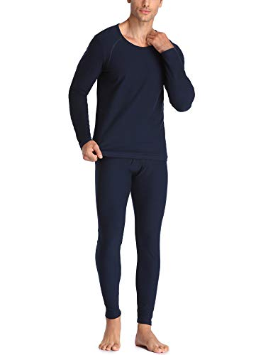 LALAVAVA Lusofie Heavyweight Thermal Underwear Men's Long John Set Base Layer Top and Bottom (Navy -