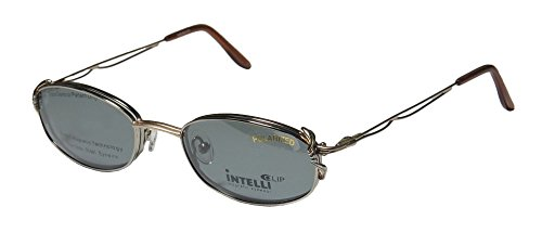 Elite Sleek Eyewear Intelli Clip 720 Womens/Ladies Designer Full-rim Sunglass Lens Clip-Ons Spring Hinges Eyeglasses/Eye Glasses (51-20-135, Pewter/Gold) by Elite Eyewear