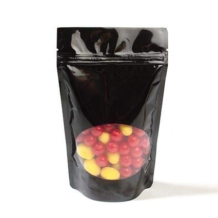 Glossy Black Resealable Zipper Pouch Bag   Size: 5 1/8