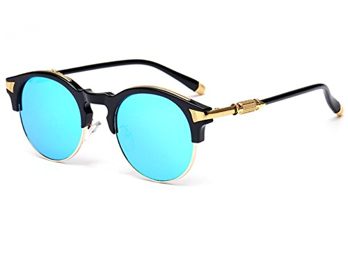 Konalla Sunglasses Half Frame Oval Coating Mirror Eyewear UV Protection UV400 - America Eyeglasses Mall Of