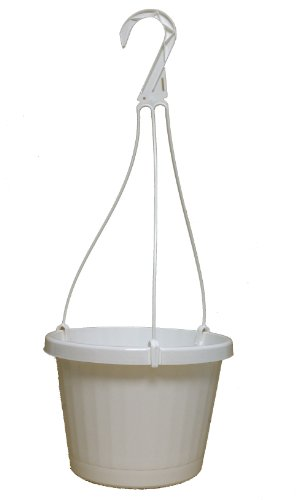 Plastic Hanging Planter - 10 NEW ~ 10 Inch Hanging Basket Plastic Nursery Pots ~ White ~ Pots ARE 9 Inch Round At the Top and 6.2 Inch Deep and Includes Internal Dish.