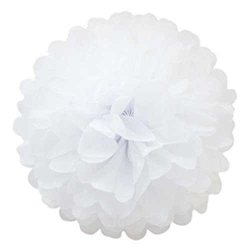 10 Pcs Tissue Paper Pom Poms Flower Ball Xmas Party Wedding Baby shower Home Decore (White, 8