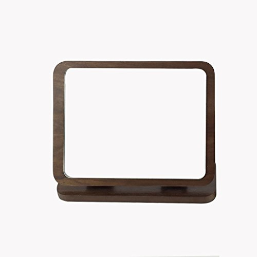 ALUS Desktop Folding Make-up Mirror Wooden high-Definition Round Single-Sided Make-up Mirror Table -