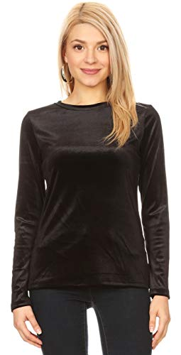 (Long Sleeve Velvet Tops for Women Reg and Plus Size Crew Neck T Shirt - Made in USA (Size Large US 10-12, Black))