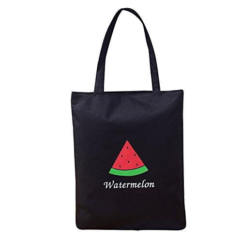 sundatebe - Bolso de tela para mujer White Banana talla única Black Watermelon