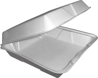 Dart DRC90HT1R Hinged Lid Carryout Foam Tray, Bowls, Large 1-Compartment (Pack of 100)
