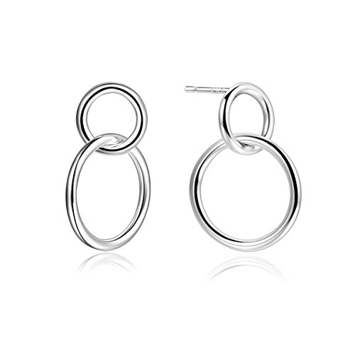 (Minimalist Infinity Circle Hoops Loops Mini Dangle Stud Earrings Sterling Silver For Women)